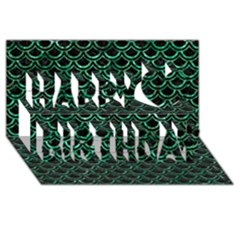 Scales2 Black Marble & Green Marble (r) Happy Birthday 3d Greeting Card (8x4) by trendistuff