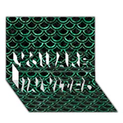 Scales2 Black Marble & Green Marble (r) You Are Invited 3d Greeting Card (7x5) by trendistuff