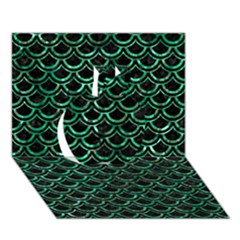 Scales2 Black Marble & Green Marble (r) Apple 3d Greeting Card (7x5) by trendistuff