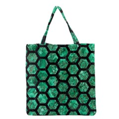 Hexagon2 Black Marble & Green Marble Grocery Tote Bag by trendistuff