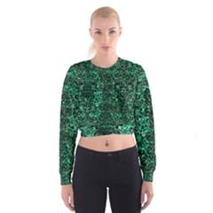 Damask2 Black Marble & Green Marble Cropped Sweatshirt