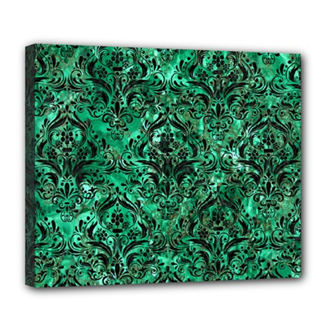 Damask1 Black Marble & Green Marble (r) Deluxe Canvas 24  X 20  (stretched) by trendistuff