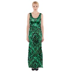 Damask1 Black Marble & Green Marble (r) Maxi Thigh Split Dress by trendistuff