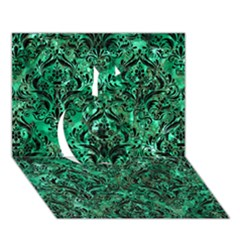 Damask1 Black Marble & Green Marble Apple 3d Greeting Card (7x5) by trendistuff