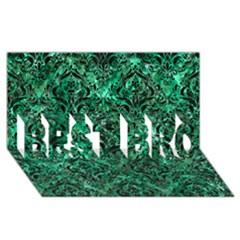 Damask1 Black Marble & Green Marble Best Bro 3d Greeting Card (8x4) by trendistuff