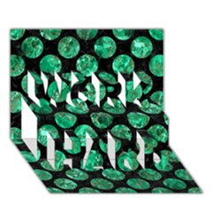 Circles2 Black Marble & Green Marble (r) Work Hard 3d Greeting Card (7x5) by trendistuff