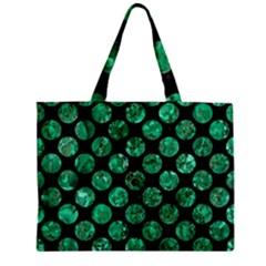 Circles2 Black Marble & Green Marble (r) Zipper Mini Tote Bag by trendistuff