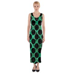 Circles2 Black Marble & Green Marble Fitted Maxi Dress by trendistuff