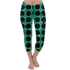 Circles1 Black Marble & Green Marble Capri Winter Leggings  by trendistuff