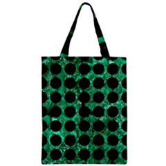 Circles1 Black Marble & Green Marble Zipper Classic Tote Bag by trendistuff