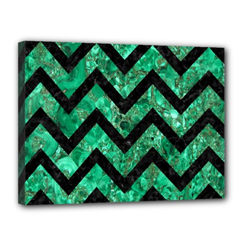 Chevron9 Black Marble & Green Marble (r) Canvas 16  X 12  (stretched) by trendistuff