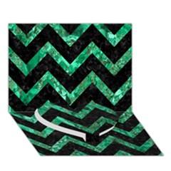 Chevron9 Black Marble & Green Marble Heart Bottom 3d Greeting Card (7x5) by trendistuff