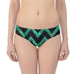 Chevron9 Black Marble & Green Marble Hipster Bikini Bottoms by trendistuff
