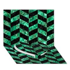 Chevron1 Black Marble & Green Marble Heart Bottom 3d Greeting Card (7x5) by trendistuff