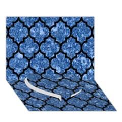 Tile1 Black Marble & Blue Marble Heart Bottom 3d Greeting Card (7x5) by trendistuff