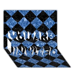 Square2 Black Marble & Blue Marble You Are Invited 3d Greeting Card (7x5) by trendistuff