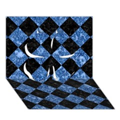 Square2 Black Marble & Blue Marble Clover 3d Greeting Card (7x5) by trendistuff