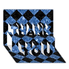 Square2 Black Marble & Blue Marble Thank You 3d Greeting Card (7x5) by trendistuff