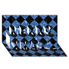 Square2 Black Marble & Blue Marble Merry Xmas 3d Greeting Card (8x4) by trendistuff