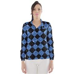 Square2 Black Marble & Blue Marble Wind Breaker (women) by trendistuff