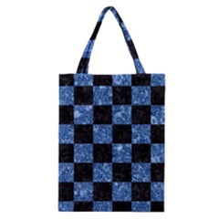 Square1 Black Marble & Blue Marble Classic Tote Bag by trendistuff