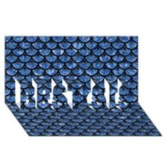 Scales3 Black Marble & Blue Marble Best Sis 3d Greeting Card (8x4)