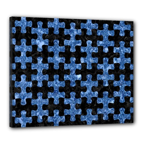 Puzzle1 Black Marble & Blue Marble Canvas 24  X 20  (stretched) by trendistuff