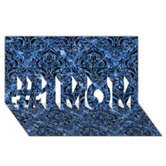 Damask1 Black Marble & Blue Marble (r) #1 Mom 3d Greeting Cards (8x4) by trendistuff