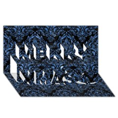 Damask1 Black Marble & Blue Marble Merry Xmas 3d Greeting Card (8x4) by trendistuff