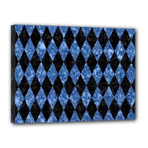 Diamond1 Black Marble & Blue Marble Canvas 16  X 12  (stretched) by trendistuff