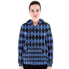 DIA1 BK-BL MARBLE Women s Zipper Hoodie by trendistuff
