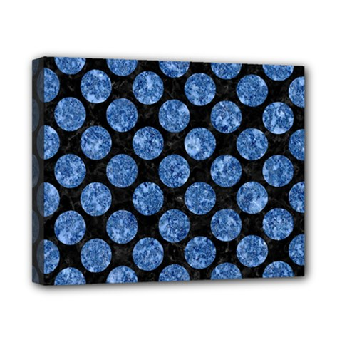 Circles2 Black Marble & Blue Marble (r) Canvas 10  X 8  (stretched) by trendistuff