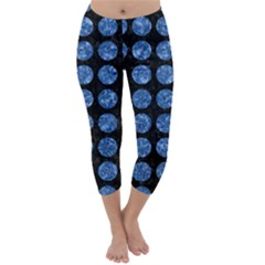 Circles1 Black Marble & Blue Marble (r) Capri Winter Leggings  by trendistuff