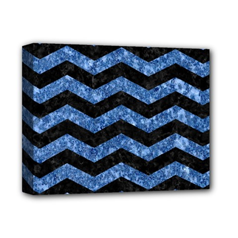 Chevron3 Black Marble & Blue Marble Deluxe Canvas 14  X 11  (stretched) by trendistuff