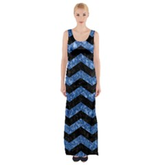 Chevron3 Black Marble & Blue Marble Maxi Thigh Split Dress by trendistuff