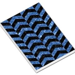 Chevron2 Black Marble & Blue Marble Large Memo Pads by trendistuff