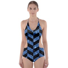 CHV1 BK-BL MARBLE Cut-Out One Piece Swimsuit