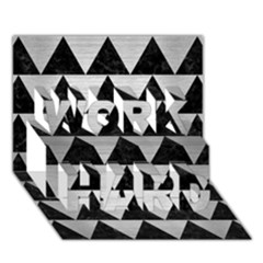 Triangle2 Black Marble & Silver Brushed Metal Work Hard 3d Greeting Card (7x5) by trendistuff