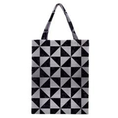 Triangle1 Black Marble & Silver Brushed Metal Classic Tote Bag by trendistuff