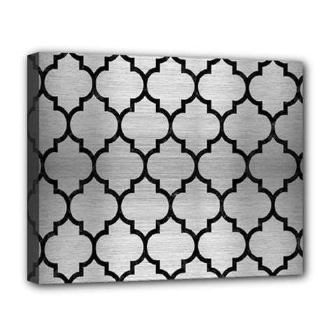 Tile1 Black Marble & Silver Brushed Metal (r) Deluxe Canvas 20  X 16  (stretched) by trendistuff