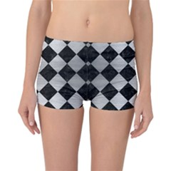 Square2 Black Marble & Silver Brushed Metal Reversible Boyleg Bikini Bottoms by trendistuff