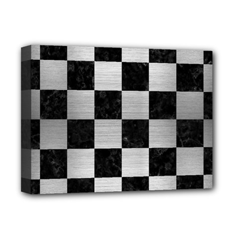 Square1 Black Marble & Silver Brushed Metal Deluxe Canvas 16  X 12  (stretched)  by trendistuff