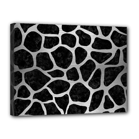 Skin1 Black Marble & Silver Brushed Metal (r) Canvas 16  X 12  (stretched) by trendistuff