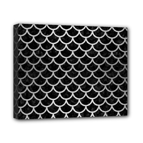 Scales1 Black Marble & Silver Brushed Metal Canvas 10  X 8  (stretched) by trendistuff