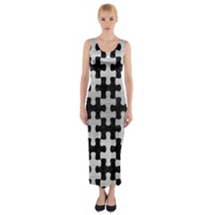 Puzzle1 Black Marble & Silver Brushed Metal Fitted Maxi Dress by trendistuff