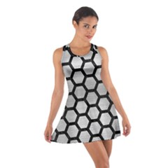 Hexagon2 Black Marble & Silver Brushed Metal (r) Cotton Racerback Dress