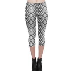 Hexagon1 Black Marble & Silver Brushed Metal (r) Capri Leggings  by trendistuff