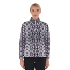 Hexagon1 Black Marble & Silver Brushed Metal (r) Winter Jacket by trendistuff