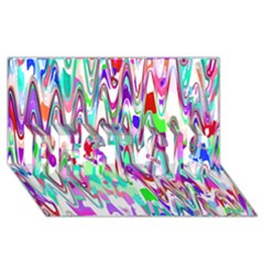 Funky Chevron Multicolor Best Sis 3d Greeting Card (8x4)  by MoreColorsinLife