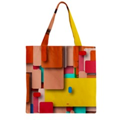 Rounded Rectangles Zipper Grocery Tote Bag by hennigdesign